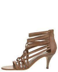 VBH - Brown Strappy Mid-heel Zip Sandal - Lyst