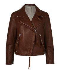 Acne | Brown Rita Leather Biker Jacket | Lyst