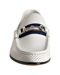 Gucci - White Perforated Leather Horsebit Web Loafers for Men - Lyst