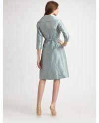 Teri Jon - Blue Taffeta Portrait Collar Dress - Lyst