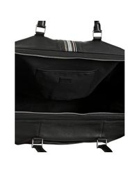 Paul Smith - Black Pebbled Leather Signature Stripe Duffel Bag for Men - Lyst