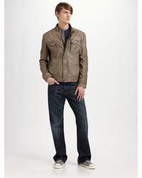 Andrew Marc - Black Pub Racer Leather Trucker Jacket for Men - Lyst