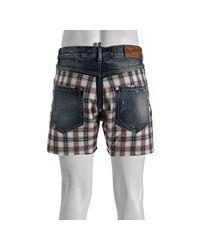 DSquared² | Blue Plaid Panel Cut-off Denim Shorts for Men | Lyst