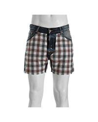 DSquared² | Blue Plaid Panel Cut-off Denim Shorts for Men | Lyst