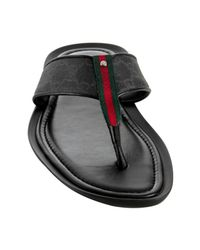 Gucci | Black Gg Plus Web Stripe Thong Sandals for Men | Lyst