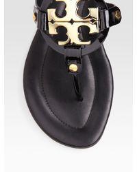 Tory Burch | Black Patent Leather Flat Sandals | Lyst