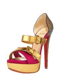 Christian Louboutin | Metallic Ambertina Bejeweled Sandal | Lyst