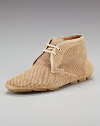Prada - Brown Perforated Suede Chukka Boot for Men - Lyst