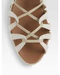 Christian Louboutin | Natural Spartacorda Canvas Lace-up Sandals | Lyst