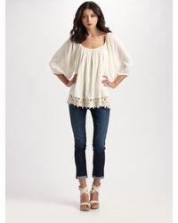 Love Sam | White Crochet Hem Shirt | Lyst