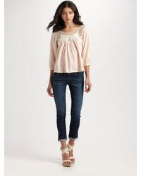 Love Sam - Pink Crochet Yoke Top - Lyst