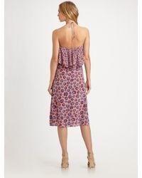 Rebecca Taylor | Pink Pom-pom Silk Halter Dress | Lyst