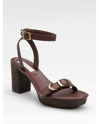 Stella McCartney | Brown Buckled Faux-leather Sandals | Lyst