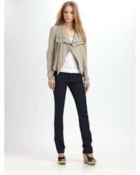 VEDA | Gray Max Leather Jacket in Smoke | Lyst