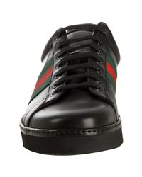 Gucci | Black Leather Signature Web Lace-up Sneakers for Men | Lyst