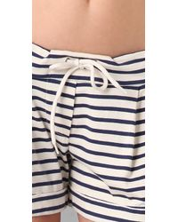 Monrow | Natural Stripe Pleated Shorts | Lyst