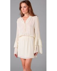 Parker - White Double Flared Sleeve Dress - Lyst