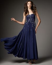 Rebecca Taylor | Blue Red Carpet Silk Sequined Gown | Lyst