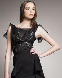 Zac Posen | Black Pearl-print Chiffon Blouse | Lyst