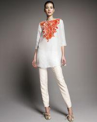 Giambattista Valli | White Shantung High-waist Pants | Lyst