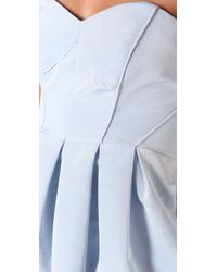 Shoshanna - Blue Strapless Dress with Tulip Skirt - Lyst
