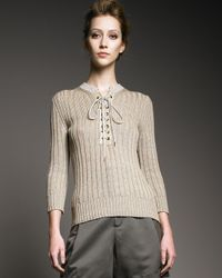 Chloé - Natural Lace-up Knit Sweater - Lyst