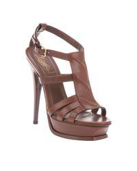 Saint Laurent | Brown Chocolate Leather New Riveg Platform Sandals | Lyst