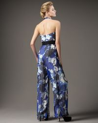 Carmen Marc Valvo | Blue Foral Chiffon Jumpsuit | Lyst