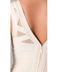 Hervé Léger - White V Neck Dress with Mesh Inserts - Lyst