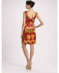 Kay Unger - Orange Tropical Print Silk Dress - Lyst