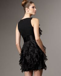 Marchesa | Black Sleeveless Ruffle Dress | Lyst