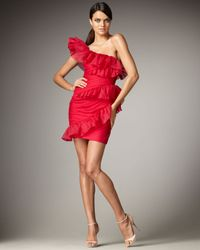 Marchesa - Red Off-the-shoulder Ruffle Dress - Lyst