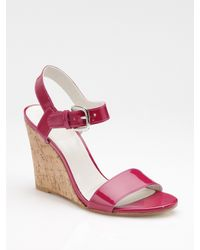 Stuart Weitzman | Red Patent Leather Cork Wedge Sandals | Lyst