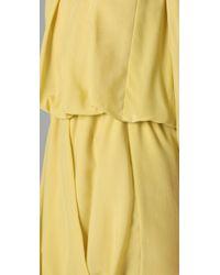 Tibi - Yellow Draped Dress - Lyst
