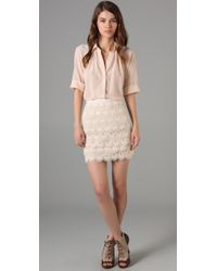 Club Monaco | Natural Lace Skirt | Lyst