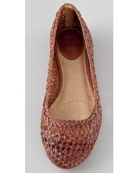Frye | Brown Emma Woven Ballet Flats | Lyst