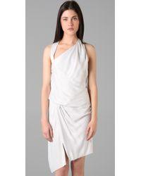 Helmut Lang | White Slit Halter Dress | Lyst