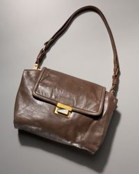 Lanvin | Brown Maisha Crinkled Shoulder Bag | Lyst