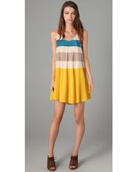 Marc By Marc Jacobs | Yellow Simone Silk Striped Dress | Lyst