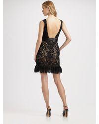 Sue Wong - Natural Beaded Feather Hem Dress - Lyst
