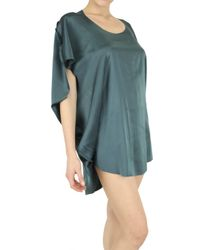 Playa Di Roberta Corti | Green Stretch Silk Satin Top | Lyst