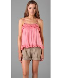 Catherine Malandrino | Pink Silk Camisole with Braid Detail | Lyst