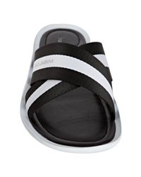 Dolce & Gabbana | Black and White Twill Sandals for Men | Lyst
