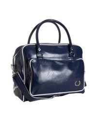 Fred Perry | Blue Navy Faux Leather Holdall Travel Bag for Men | Lyst