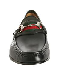 Gucci | Black Leather Webstripe Horsebit Loafers for Men | Lyst