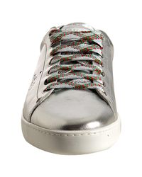 Gucci - Metallic Silver Leather Perforated Logo Sneakers for Men - Lyst