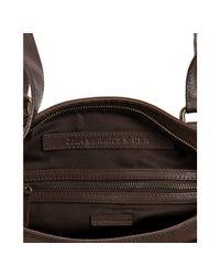 John Varvatos - Brown Coated Canvas Leaf Print Tote Shoulder Bag for Men - Lyst