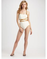 Michael Kors | White Belted Wrap-around One-piece Swimsuit | Lyst