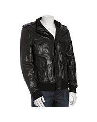 Prada | Black Leather Button Front Bomber Jacket for Men | Lyst