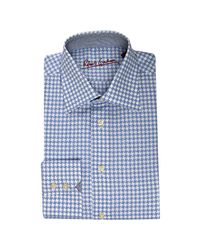 Robert Graham | Blue Cotton Houndstooth Galvin Dress Shirt for Men | Lyst